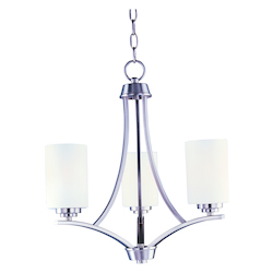 Maxim Three Light Satin Nickel Satin White Glass Up Chandelier