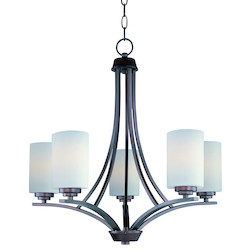 Maxim Five Light Oil Rubbed Bronze Satin White Glass Up Chandelier