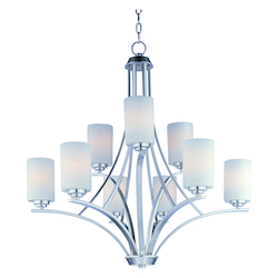 Maxim Nine Light Satin Nickel Satin White Glass Up Chandelier