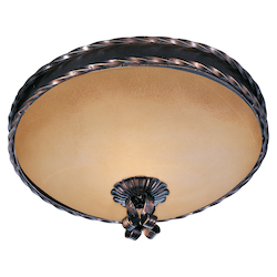 Maxim Two Light Oil Rubbed Bronze Vintage Amber Glass Bowl Flush Mount