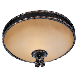 Maxim Three Light Oil Rubbed Bronze Vintage Amber Glass Bowl Flush Mount