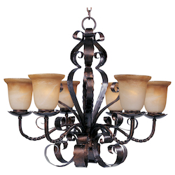 Maxim Six Light Oil Rubbed Bronze Vintage Amber Glass Up Chandelier
