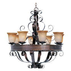 Maxim Eight Light Oil Rubbed Bronze Vintage Amber Glass Up Chandelier