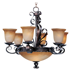 Maxim Nine Light Oil Rubbed Bronze Vintage Amber Glass Up Chandelier