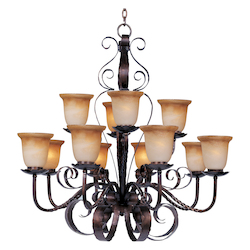 Maxim Twelve Light Oil Rubbed Bronze Vintage Amber Glass Up Chandelier