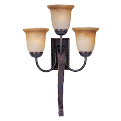Maxim Three Light Oil Rubbed Bronze Vintage Amber Glass Wall Light
