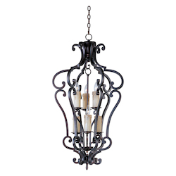 Maxim Six Light Colonial Umber Open Frame Foyer Hall Fixture