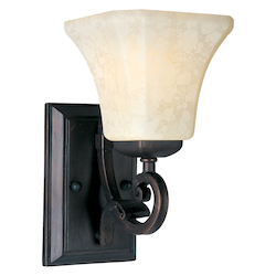 Maxim One Light Frost Lichen Glass Rustic Burnished Wall Light