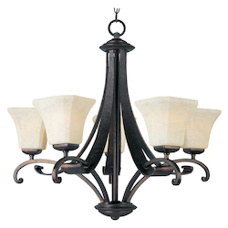 Maxim Five Light Frost Lichen Glass Rustic Burnished Up Chandelier