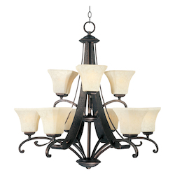 Maxim Nine Light Frost Lichen Glass Rustic Burnished Up Chandelier