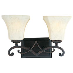 Maxim Two Light Frost Lichen Glass Rustic Burnished Vanity