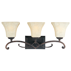 Maxim Three Light Frost Lichen Glass Rustic Burnished Vanity