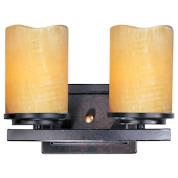 Maxim Two Light Rustic Ebony Stone Candle Glass Vanity