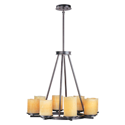 Maxim Eight Light Rustic Ebony Stone Candle Glass Candle Chandelier
