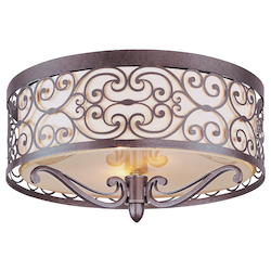 Maxim Two Light Umber Bronze Drum Shade Flush Mount