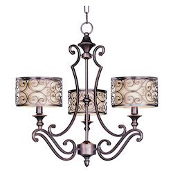 Maxim Three Light Umber Bronze Drum Shade Chandelier