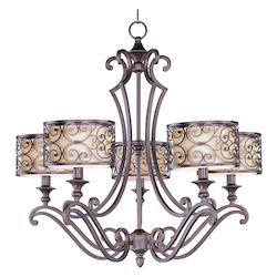 Maxim Five Light Umber Bronze Drum Shade Chandelier