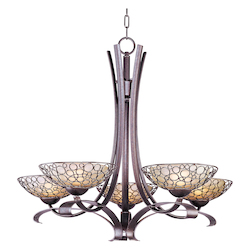 Maxim Five Light Dusty White Glass Umber Bronze Up Chandelier