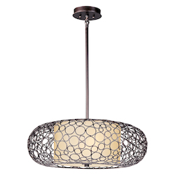 Maxim Two Light Dusty White Glass Umber Bronze Drum Shade Pendant