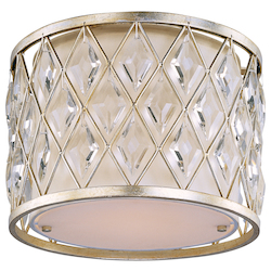 Maxim One Light Golden Silver Drum Shade Flush Mount