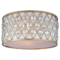 Maxim Three Light Golden Silver Drum Shade Flush Mount