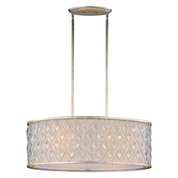 Maxim Four Light Golden Silver Drum Shade Pendant