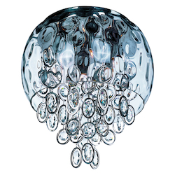 Maxim Six Light Water Glass Glass Polished Nickel Bowl Flush Mount