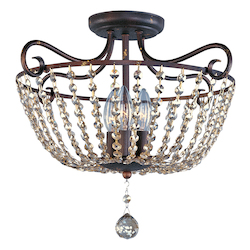 Maxim Three Light Urban Rustic Bowl Semi-Flush Mount