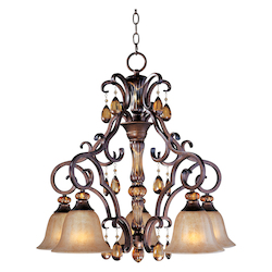 Maxim Five Light Filbert Ember Glass Down Chandelier