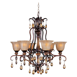 Maxim Six Light Filbert Ember Glass Up Chandelier
