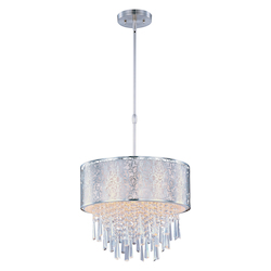 Maxim Five Light Satin Nickel Drum Shade Pendant