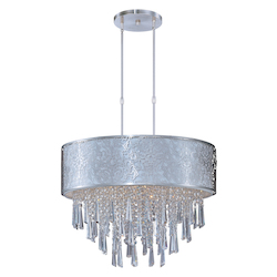 Maxim Nine Light Satin Nickel Drum Shade Pendant