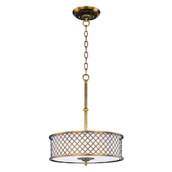 Maxim Four Light Natural Aged Brass Drum Shade Pendant
