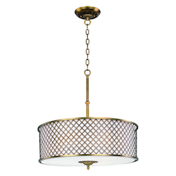 Maxim Six Light Natural Aged Brass Drum Shade Pendant