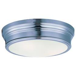 Maxim Two Light Satin White Glass Polished Nickel Drum Shade Flush Mount