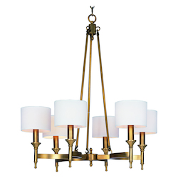 Maxim Six Light Natural Aged Brass Up Chandelier