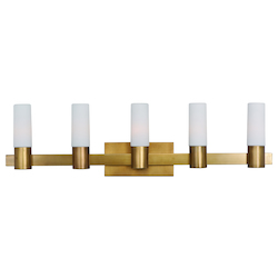 Maxim Five Light Natural Aged Brass Vanity