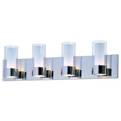 Maxim Four Light Polished Chrome Clear/Frosted Glass Vanity