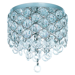 Maxim Seven Light Polished Chrome Beveled Crystal Glass Bowl Flush Mount