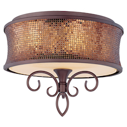 Maxim Three Light Umber Bronze Drum Shade Semi-Flush Mount