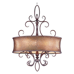 Maxim Six Light Umber Bronze Drum Shade Pendant