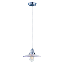 Maxim One Light Satin Nickel Clear Glass Down Pendant