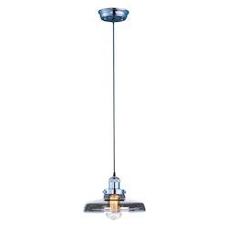 Maxim One Light Polished Nickel Mirror Smoke Glass Down Pendant