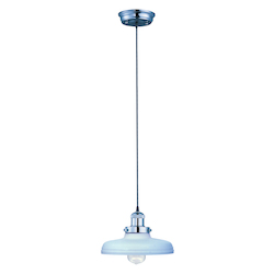 Maxim One Light Satin White Glass Polished Nickel Down Pendant