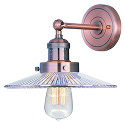 Maxim One Light Clear Glass Antique Copper Wall Light
