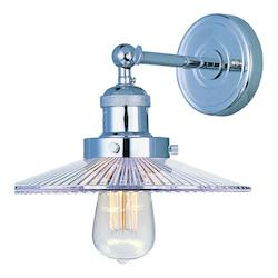 Maxim One Light Clear Glass Polished Nickel Wall Light