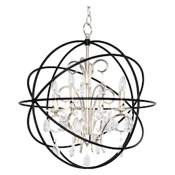 Maxim Four Light Anthracite And Polished Nickel Up Chandelier