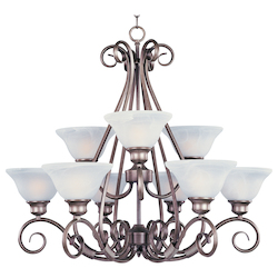 Maxim Nine Light Pewter Marble Glass Up Chandelier