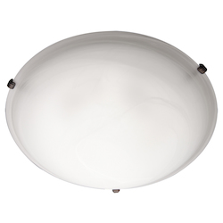 Maxim Three Light Oil Rubbed Bronze Marble Glass Bowl Flush Mount