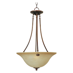 Maxim Three Light Oil Rubbed Bronze Wilshire Glass Up Pendant